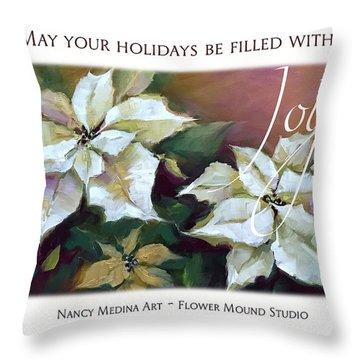 Silent Night Poinsettias Christmas Cards By Nancy Medina Art Throw Pillow