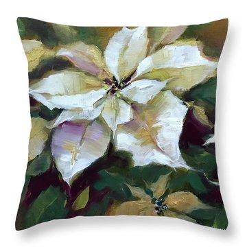 Silent Night Poinsettias In Gold Throw Pillow