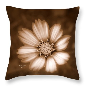 Silent Petals Throw Pillow by Trish Tritz