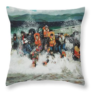 Throw Pillow featuring the painting Silent Screams by Eric Kempson
