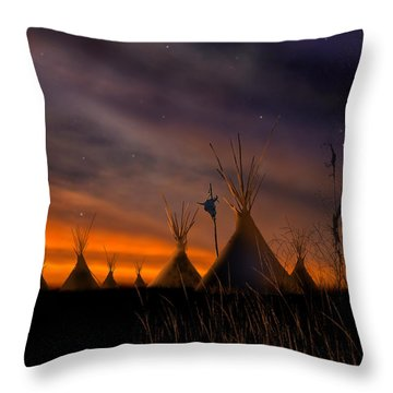 Silent Teepees Throw Pillow