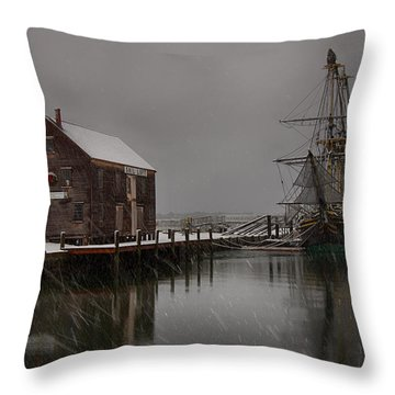 Silently The Snow Falls. Throw Pillow