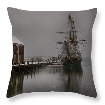 Silently The Snow Falls. Throw Pillow by Jeff Folger