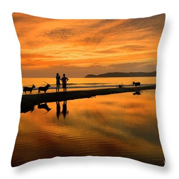 Silhouette And Amazing Sunset In Thassos Throw Pillow