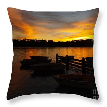 Silhouette Boats Throw Pillow