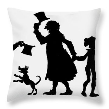 Silhouette Illustration From A Christmas Carol By Charles Dickens Throw Pillow