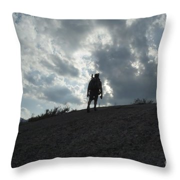 Silhouette Of A Hiker On Middle Sugarloaf Mountain - White Mountains New Hampshire Usa Throw Pillow