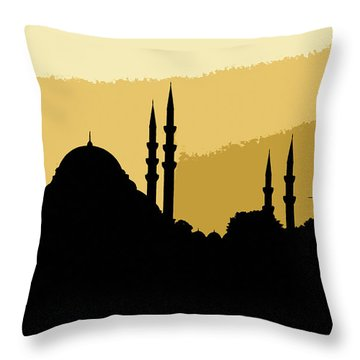 Silhouette Of Mosques In Istanbul Throw Pillow
