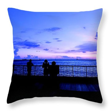 Throw Pillow featuring the photograph Silhouette Of People At Sunset by Yali Shi