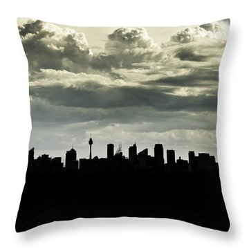 Silhouette Of Sydney Throw Pillow