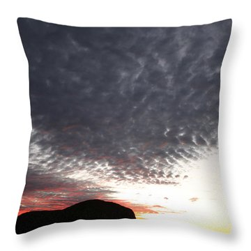 Silhouette Of Uluru At Sunset Throw Pillow