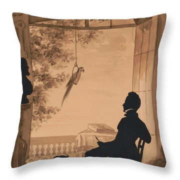 Silhouette Profile Of Artist Charles Fenderich, 1841 Throw Pillow
