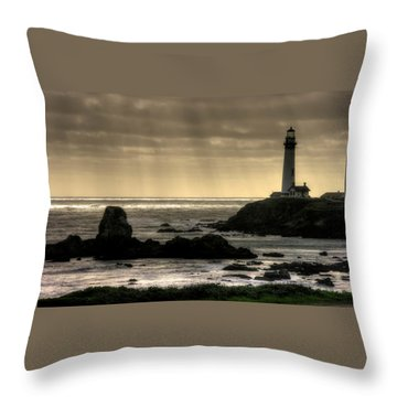 Silhouette Sentinel - Pigeon Point Lighthouse - Central California Coast Spring Throw Pillow