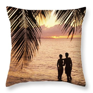 Silhouetted Couple Throw Pillow by Larry Dale Gordon - Printscapes