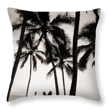 Silhouetted Surfers - Sep Throw Pillow by Dana Edmunds - Printscapes