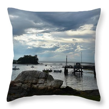 Silhouetted Views From Bustin's Island In Maine Throw Pillow by DejaVu Designs