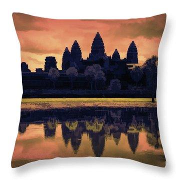 Silhouettes Angkor Wat Cambodia Mixed Media  Throw Pillow
