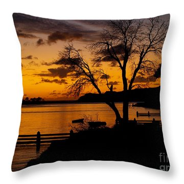 Silhouettes At Sunrise Throw Pillow