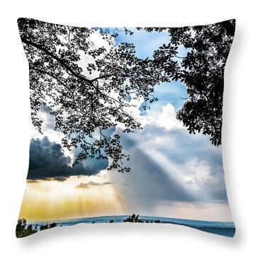 Throw Pillow featuring the photograph Silhouettes At The Overlook by Shelby Young