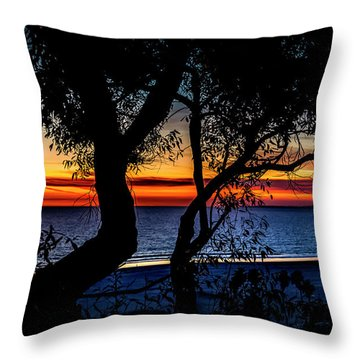 Silhouettes Over Blue Water Throw Pillow