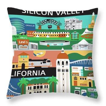 Silicon Valley California Horizontal Scene - Collage Throw Pillow