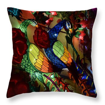 Silk Peacocks Throw Pillow