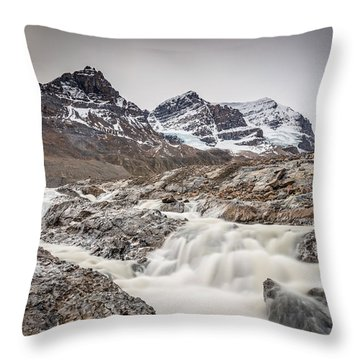 Silky Melt Water Of Athabasca Glacier Throw Pillow