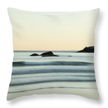 Silky Water And Rocks On The Rhode Island Coast Throw Pillow