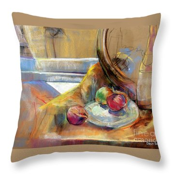 Sill Life With Onions Throw Pillow by Daun Soden-Greene