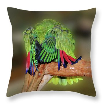 Silly Amazon Parrot Throw Pillow