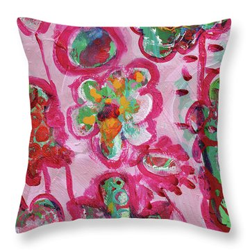 Silly Flowers Throw Pillow