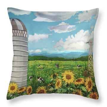 Silo Farm Throw Pillow