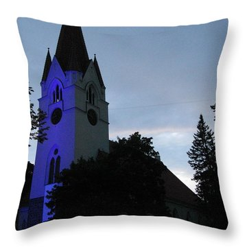 Silute Lutheran Evangelic Church Lithuania 01 Throw Pillow by Ausra Huntington nee Paulauskaite