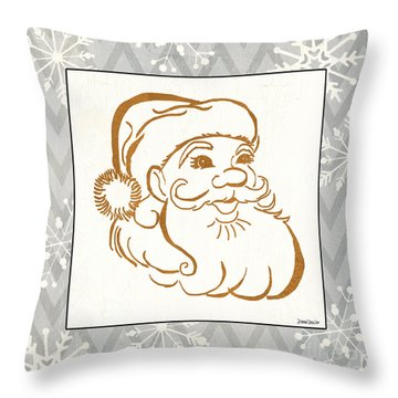 Silver And Gold Santa Throw Pillow