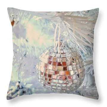 Silver And White Christmas Throw Pillow