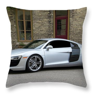 Silver Audi R8 Throw Pillow by Joel Witmeyer
