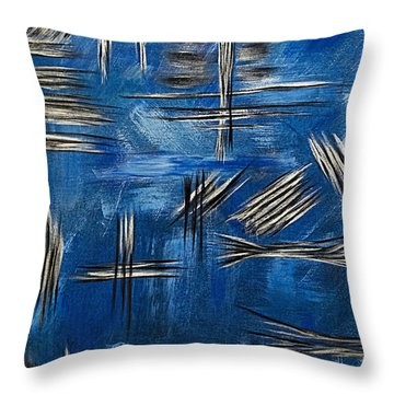 Throw Pillow featuring the painting Silver/blue/black Metallic Abstract Painting by Renee Anderson