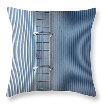 Silver Blue Silo With Steel Ladder. Throw Pillow
