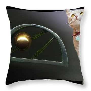 Cat, Silver And Gold  Brooch Throw Pillow