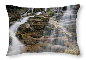 Silver Cascades - Crawford Notch New Hampshire Throw Pillow by Erin Paul Donovan