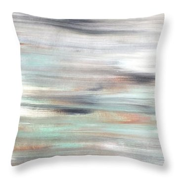 Silver Coast #25 Silver Teal Landscape Original Fine Art Acrylic On Canvas Throw Pillow