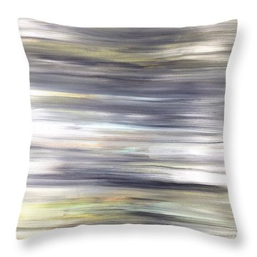 Silver Coast #26 Silver Teal Landscape Original Fine Art Acrylic On Canvas Throw Pillow