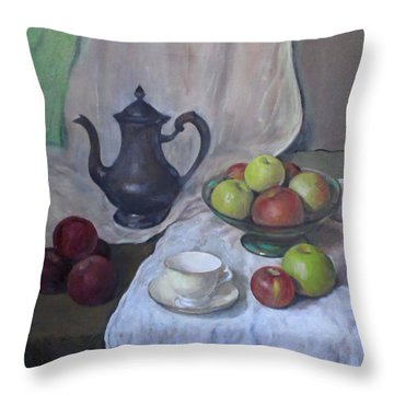 Silver Coffeepot, Apples, Green Footed Bowl, Teacup, Saucer Throw Pillow