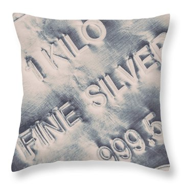 Silver Commodities Throw Pillow