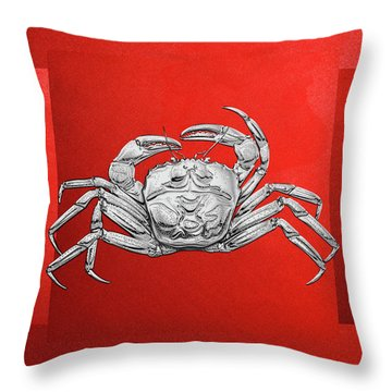 Throw Pillow featuring the digital art Silver Crab On Red Canvas by Serge Averbukh
