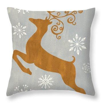 Silver Gold Reindeer Throw Pillow