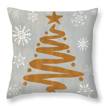 Silver Gold Tree Throw Pillow