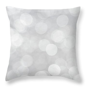 Silver Grey Bokeh Abstract Throw Pillow
