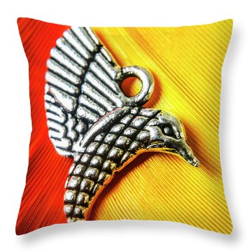 Silver Hummingbird Throw Pillow