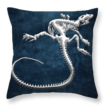 Silver Iguana Skeleton On Blue Silver Iguana Skeleton On Blue  Throw Pillow
